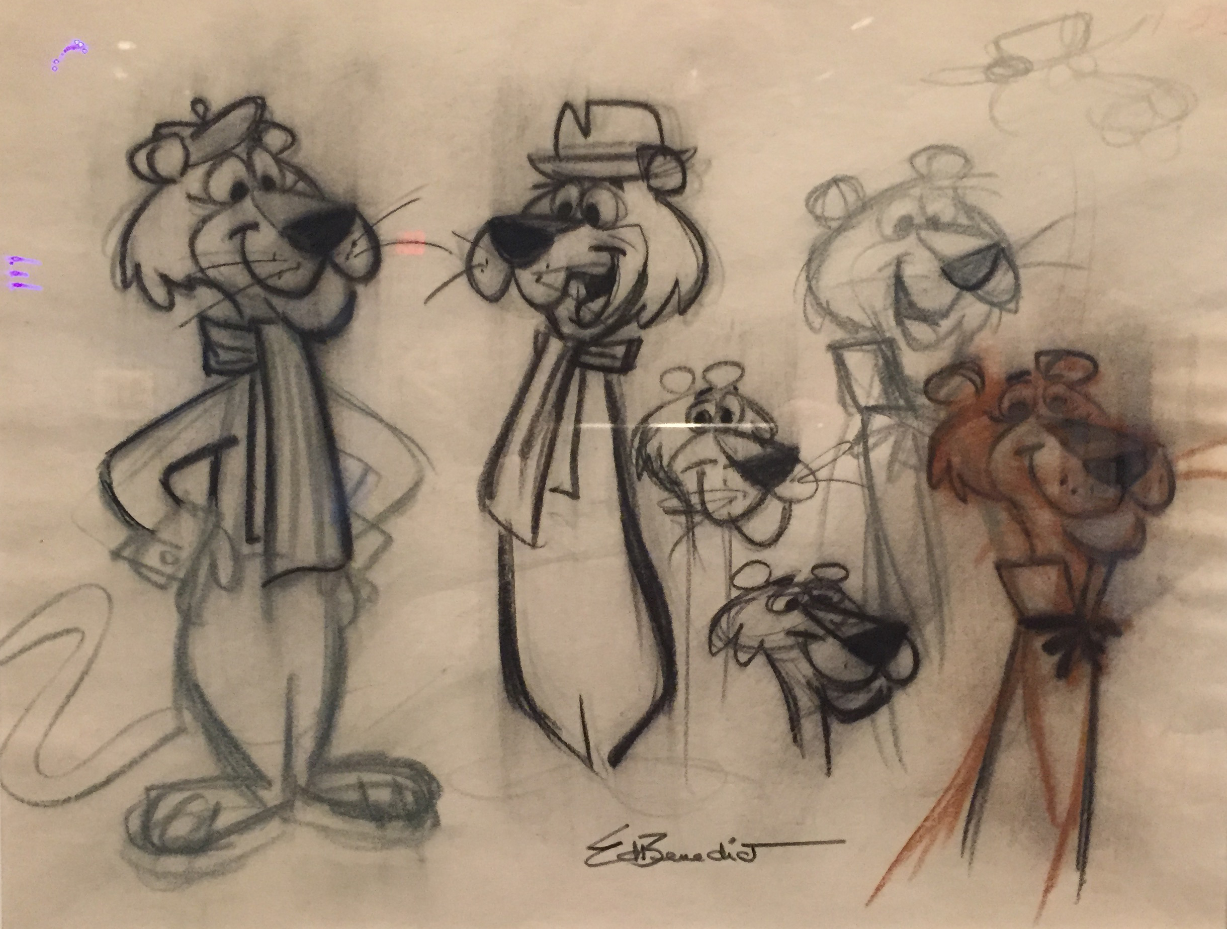 """Ed Benedict draws Snagglepuss, 1958. The """"display"""" is inadvertent, really: he is just trying things, one next to the other. I shot this on my iPhone (a little grainy) at the Norman Rockwell Museum in February 2017, at the Hanna Barbera Show. Benedict's pencils were the best things in it."""