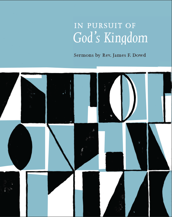 D.B. Dowd and Heather Corcoran,Cover Design,  In Pursuit of God's Kingdom , Ulcer City Publications, 2011. I was privileged to work on this project, a compilation of Jim's sermons. The cover design is a quotation from the stained glass wall behind the chancel at First Presbyterian Church in Urbana, Illinois.