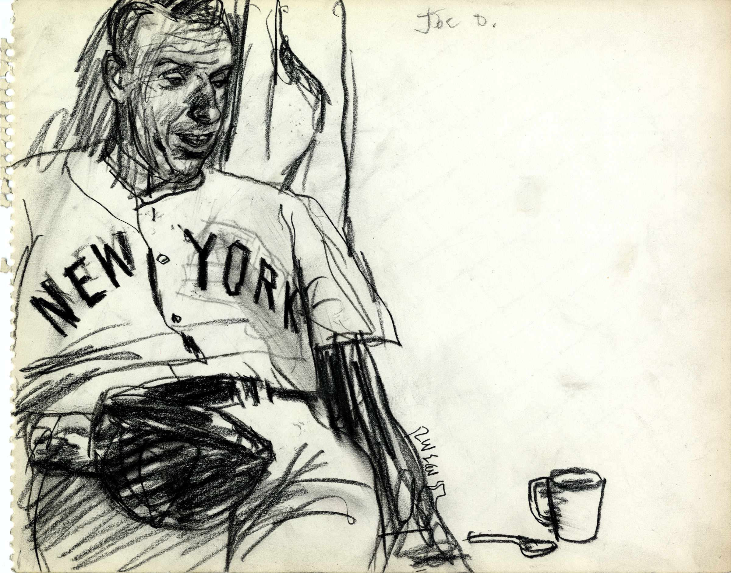 Robert Weaver,  Joe DiMaggio , from  Spring Training Sketchbook , unpublished drawing for a project that ran in the March 5, 1962 issue of  Sports Illustrated . This sketchbook is in the collections of the Modern Graphic History Library at Washington University.
