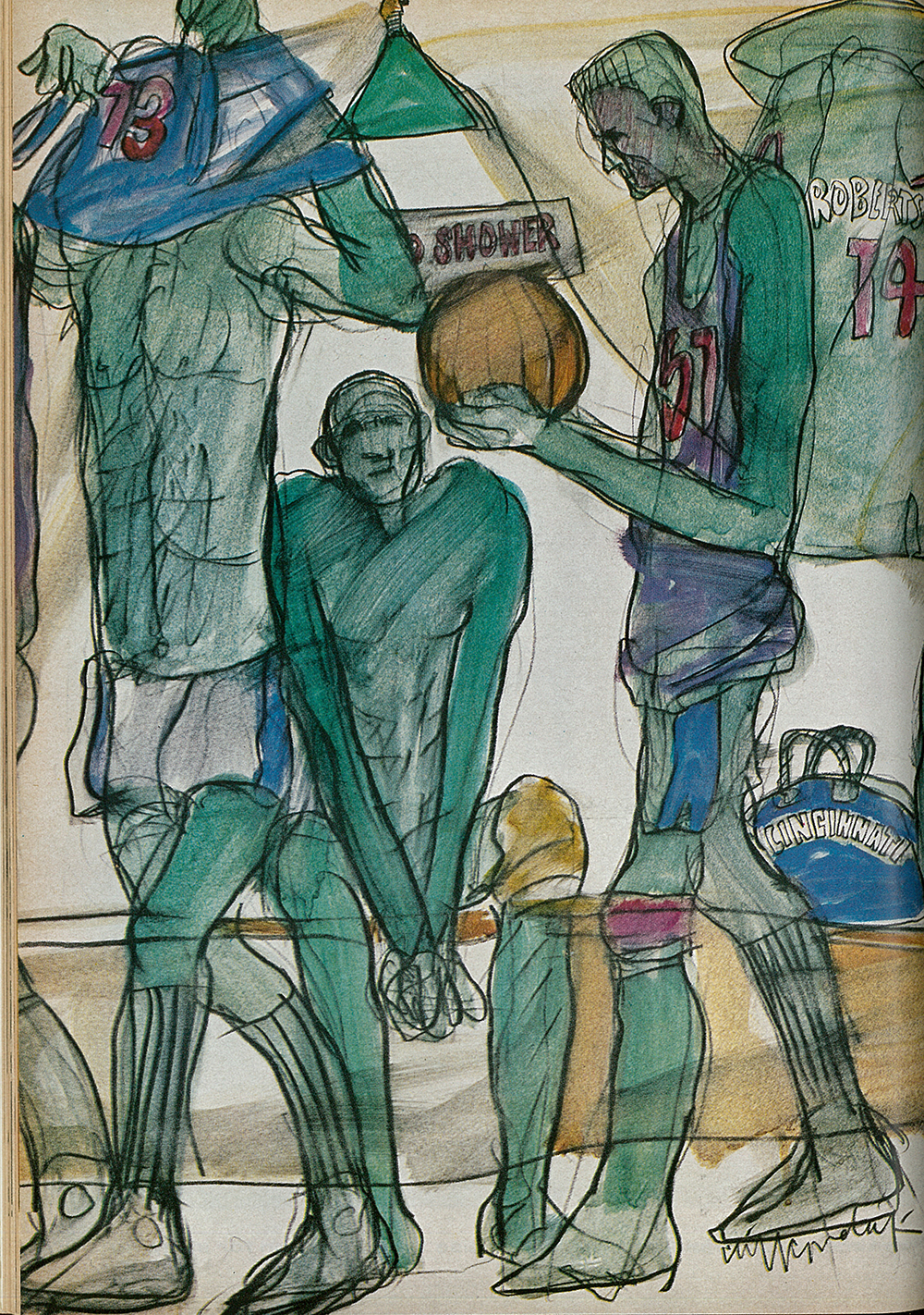 "Cliff Condak,  The locker room before a game, a gray-green world of private worry where each man tries to ready himself.  Illustration for ""Big Men on the Move,"" feature in the October 28, 1963 issue of  Sports Illustrated . Art directed by Dick Gangel. Notable positioning of the pictures as ""paintings,"" not illustrations."