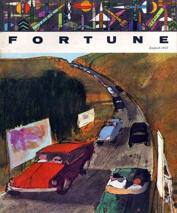 Robert Andrew Parker,  Cars on Highway , cover illustration, Fortune Magazine, August 1957.