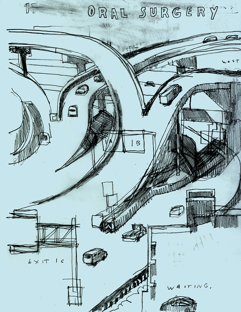 D.B. Dowd,  170 Interchange, Viewed from the Orthodontist's Office , sketchbook drawing, 2010.