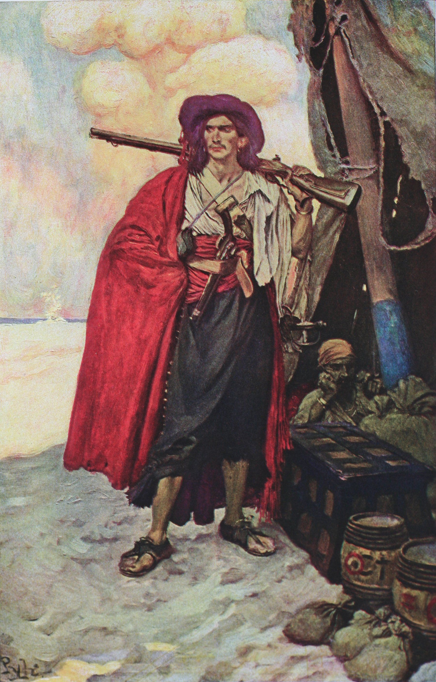 """Howard Pyle,  The Buccaneer was a picturesque fellow, illustration for """" The Fate of a Treasure Town,""""in Harper's Monthly Magazine, December 1905. Better known as  Buccaneer of the Caribbean , republished and so captioned in the posthumous collection,  Howard Pyle's Book of Pirates , 1923. Original painting in the  Delaware Art Museum ."""