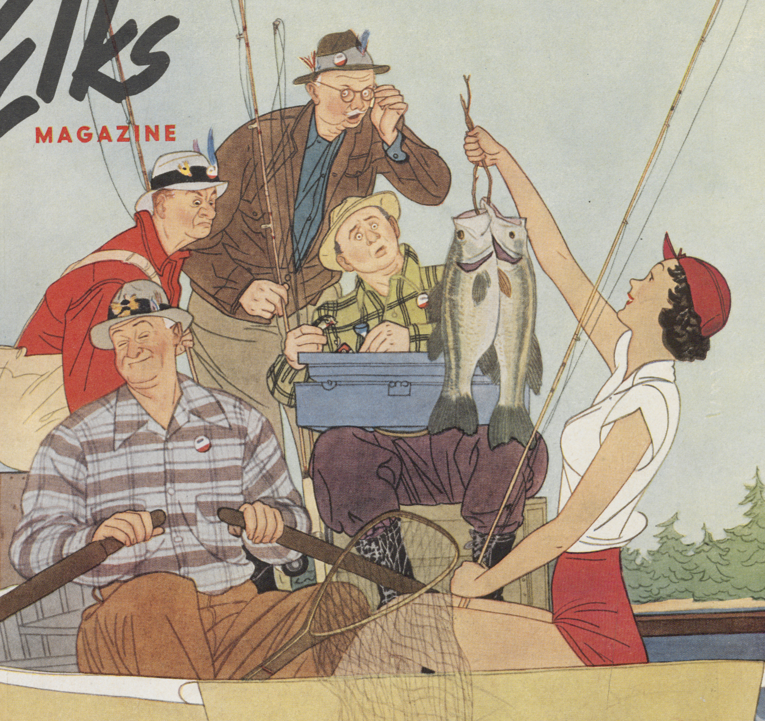 Harry Beckhoff, detail, cover Illustration,  The Elks Magazine,  April 1950.