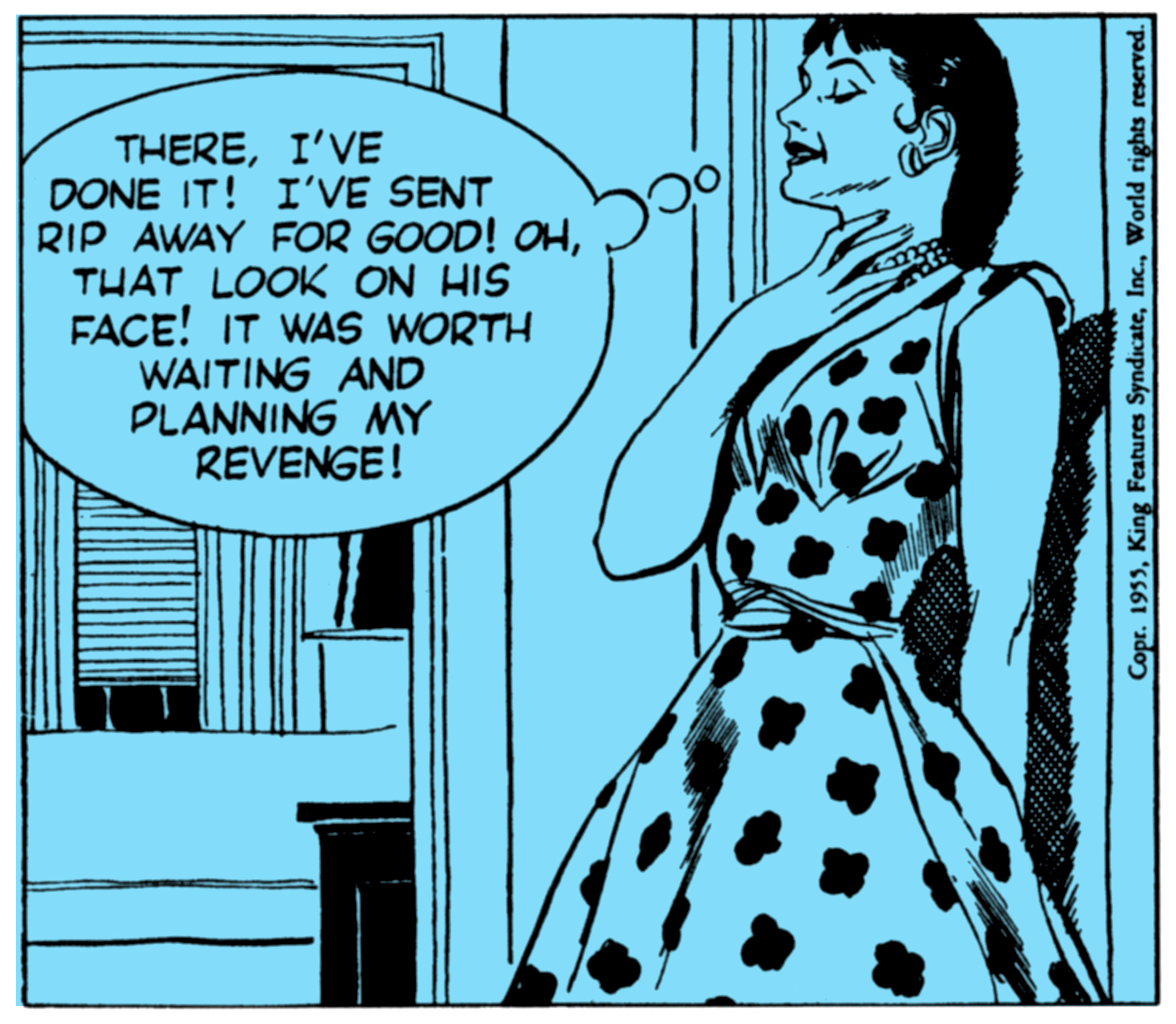 Kismet, a  femme fatale  in Alex Raymond's  Rip Kirby , the daily strip for February 1, 1955. (Color field added.)