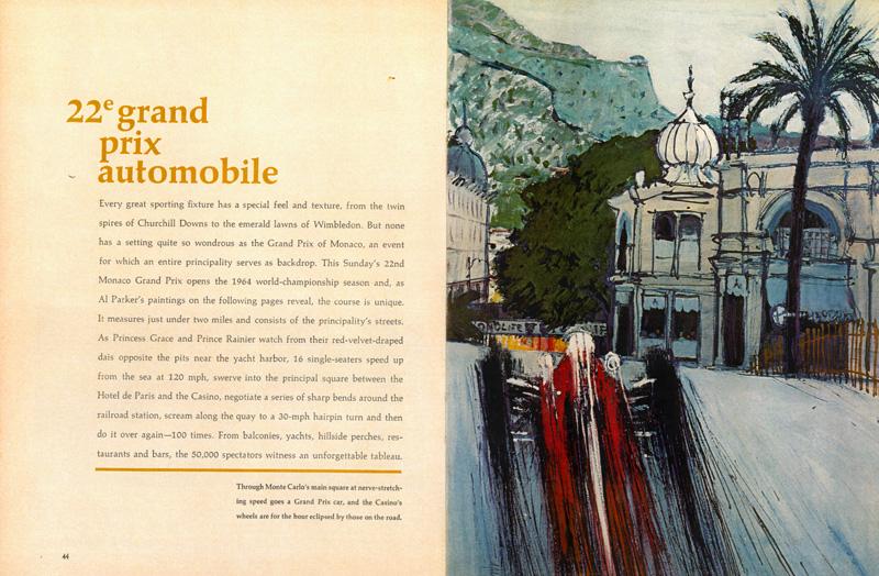Al Parker,  22nd Monaco Grand Prix , Sports Illustrated, May 11, 1964.