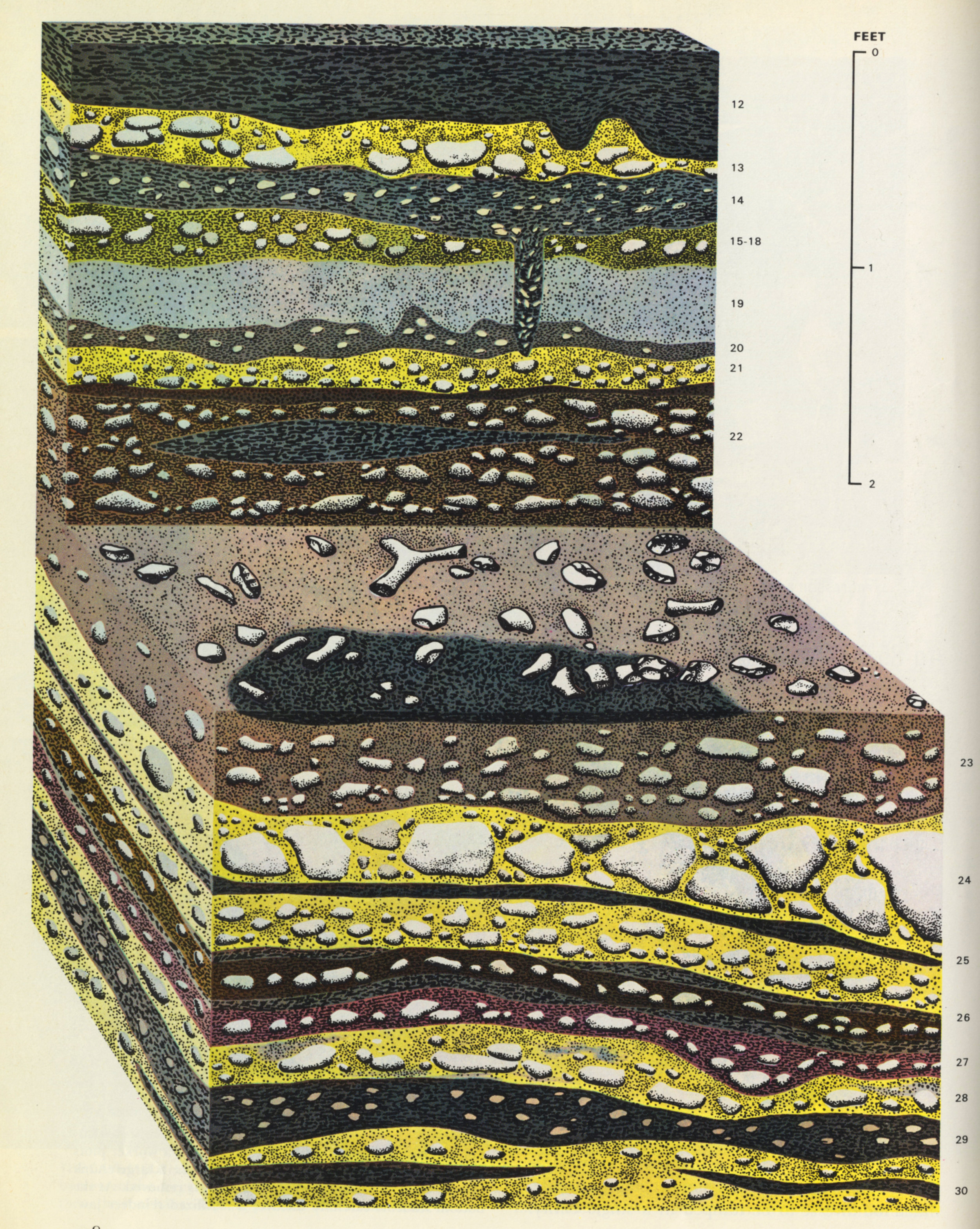 Illustration of archaeological dig , Dordogne, France in  Early Man , Time-Life Books, 1965. Art direction by Sheldon Cotler; illustrator uncredited. (1 of 2) Note that we see the excavated matter from three sides, to provide spatial context and scale reference for the schematic representations of several layers called out in diagrams—one of which is shown below.