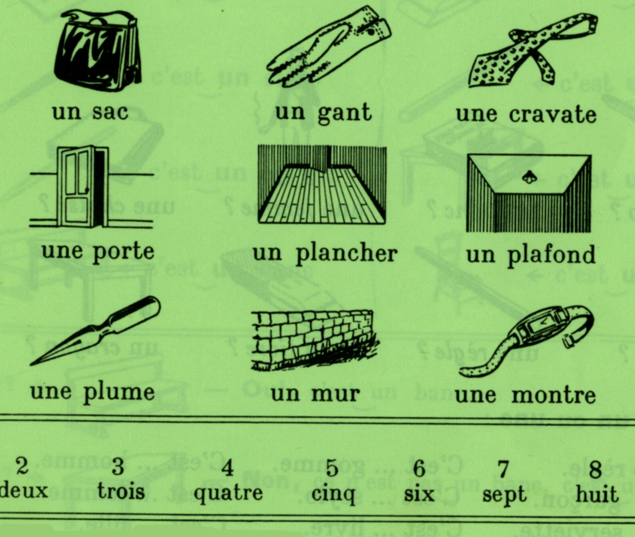 A straightforward gridded presentation of French vocabulary words. Uncredited illustration from  cours de la langue et la civilisation Françaises I , Librairie Hachette, 1953.