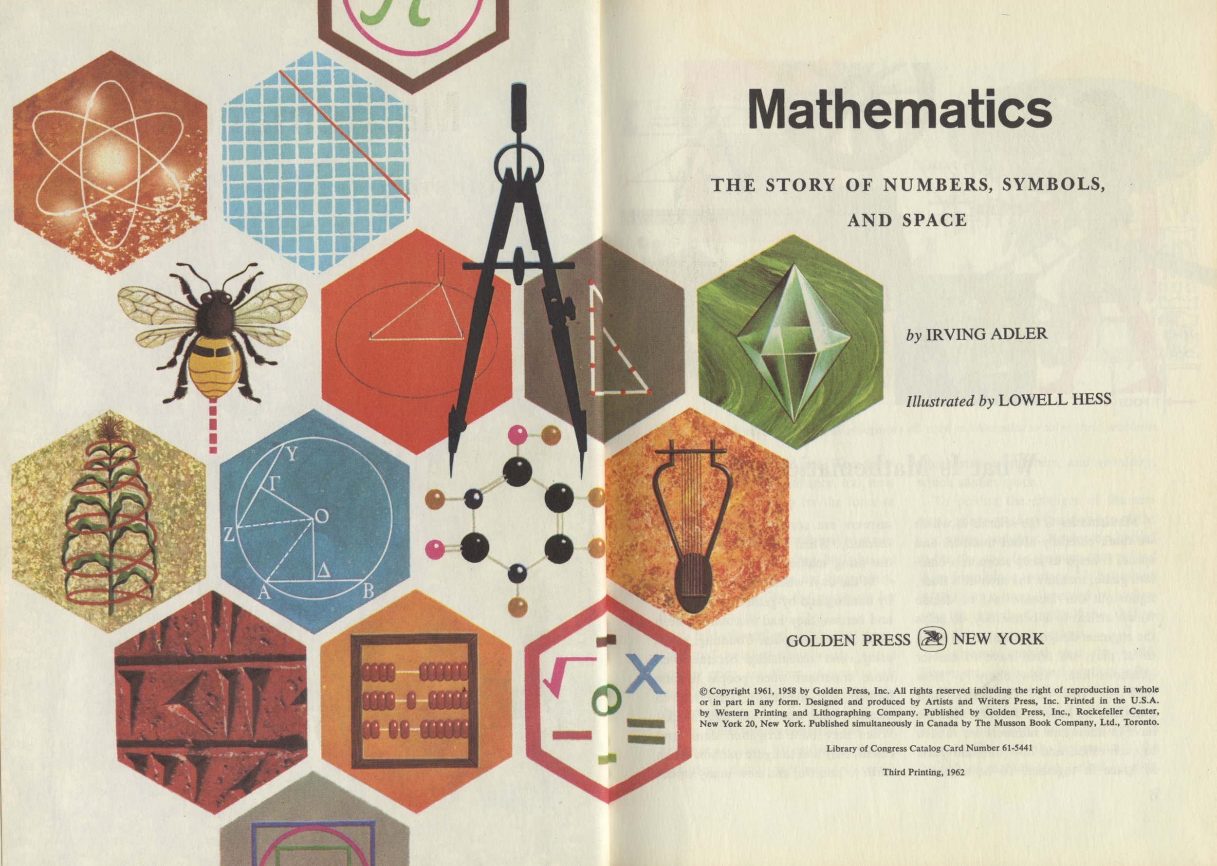 An alternate approach to building a display system with decorative potential: Lowell Hess's title page illustration for  Mathematics . I have written elsewhere  about Hess , whose visual range was quite exceptional.