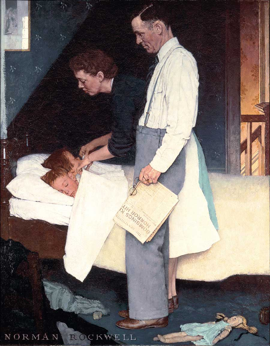 Norman Rockwell,  Freedom From Fear , 1943. This painting and its mates are on display in Caen, which was pulverized by Allied bombardment in 1944. The destruction of Caen complicates heroic narratives of the Battle of Normandy.