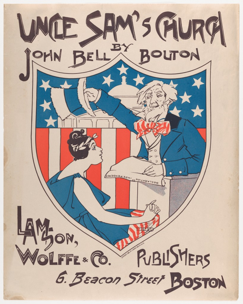 Ethel Reed,  Uncle Sam's Church , poster design for Lamson, Wolffe & Company. Boston, 1895. Lithograph.