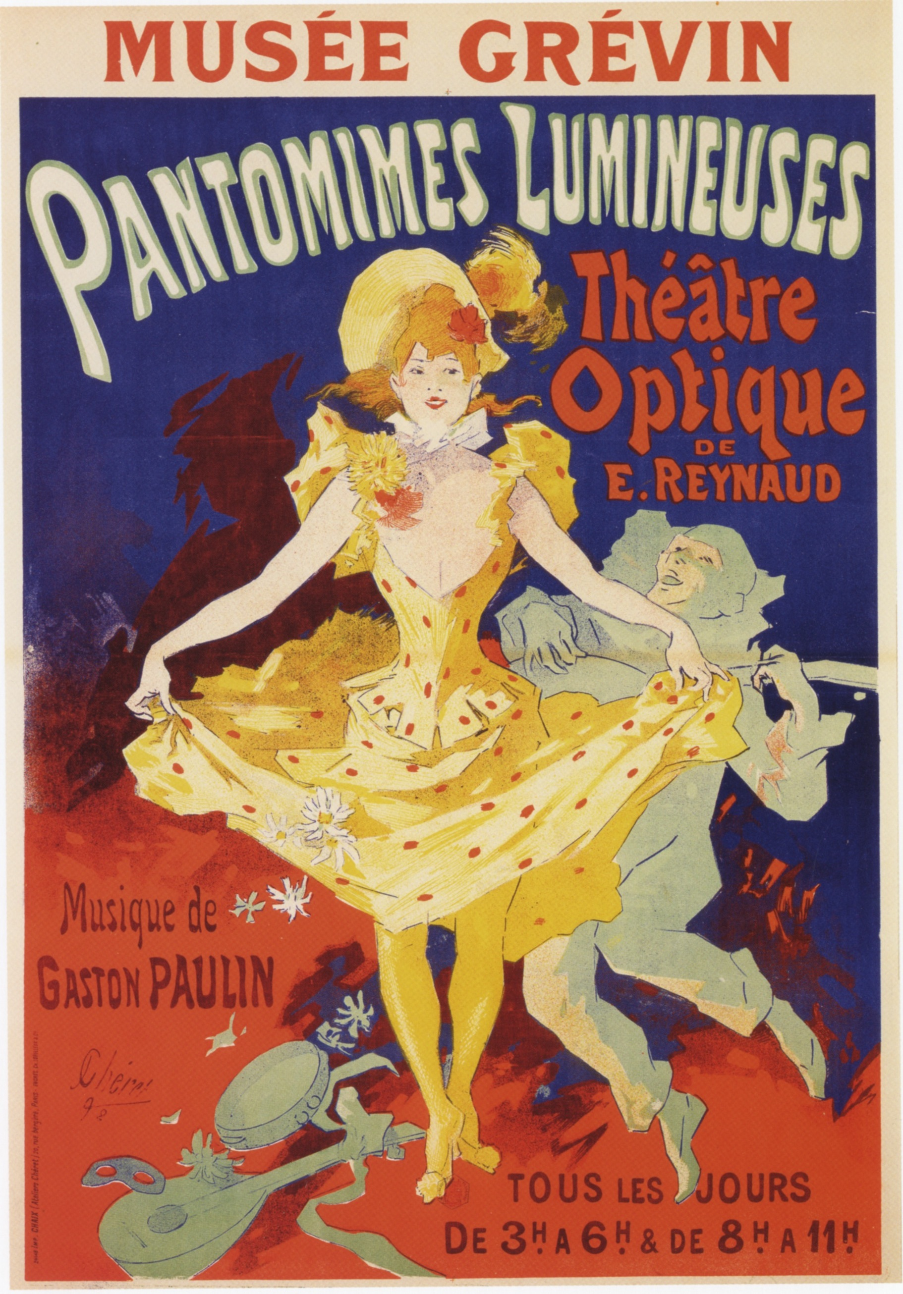 Jules Chéret,  Pantomimes Lumineuses , advertising poster for early motion picture screening, 1898.