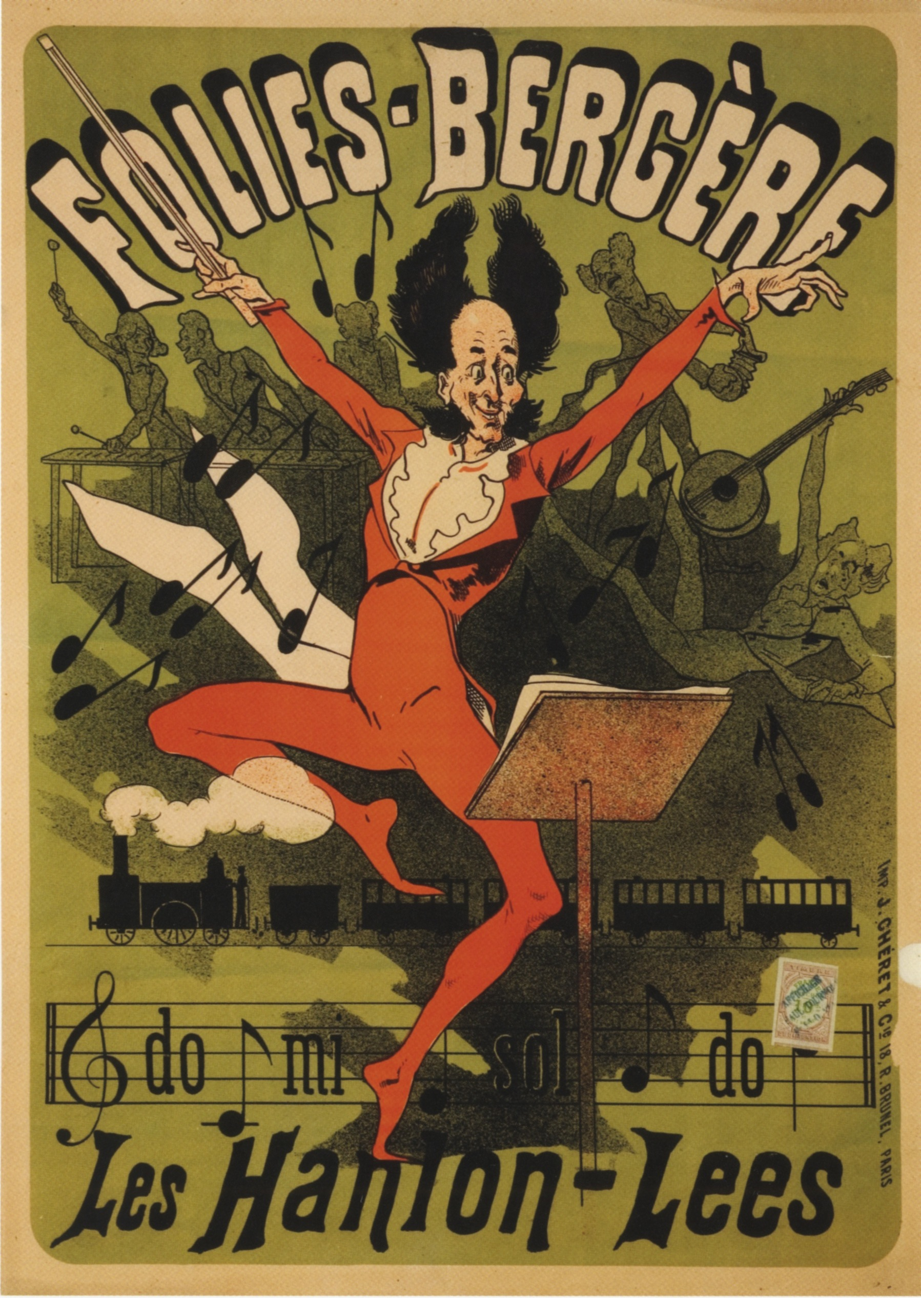 Jules Chéret,  Folies Bergere: Les Hanion-Lees , advertising poster, 1878. This project, earlier in Chértet's career, does not show the same atmospheric handling of color and light visible in the posters above, but manages nice modulation of value between the manic, highly-saturated central character and the figures behind him. Also nice use of negative form, notably the puff of locomotive smoke that crosses over his lower leg. Spatially quite sophisticated.
