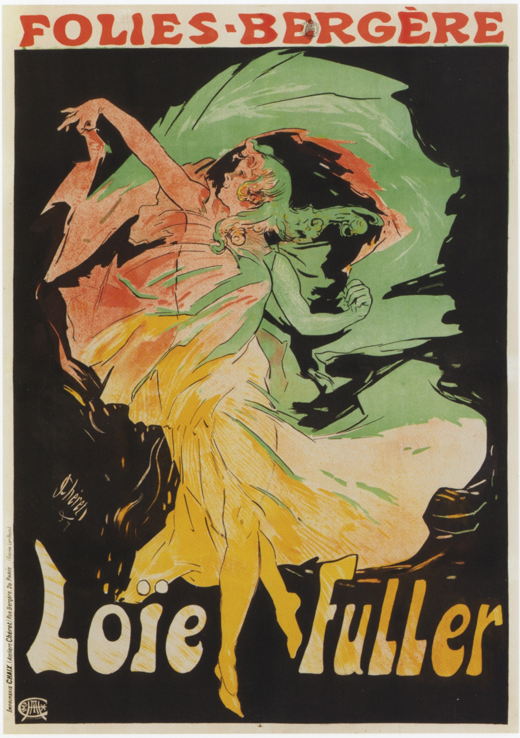 Jules Chéret,  Folies Bergere: Loïe Fuller , advertising poster, 1897