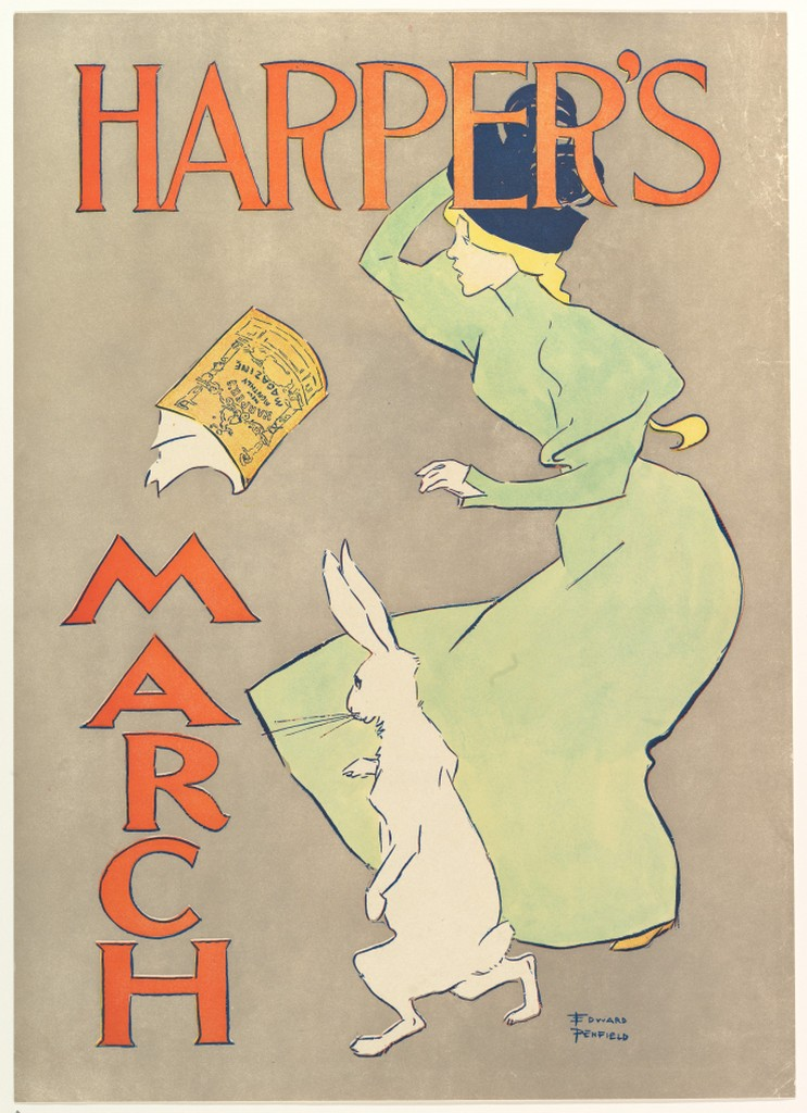 Edward Penfield, poster advertising Harpers Magazine, March 1895. Lithograph.