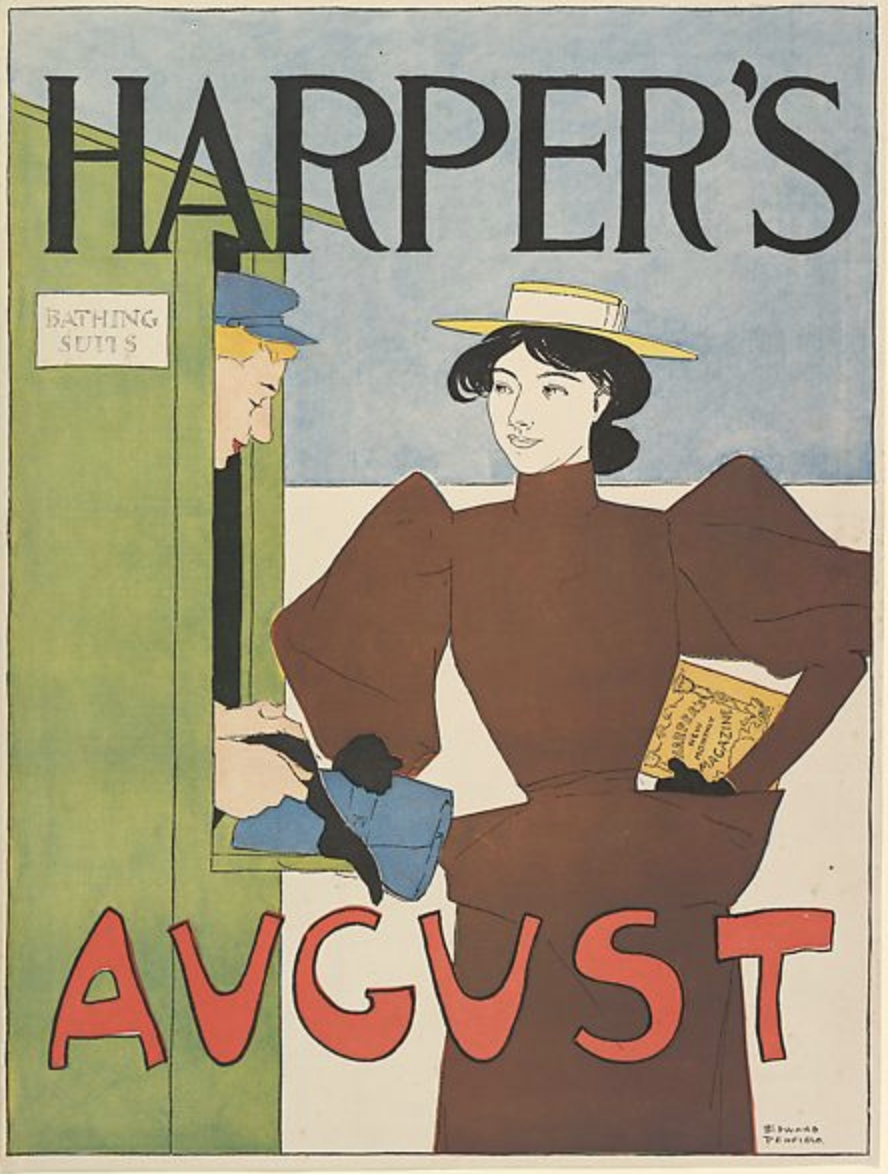 Edward Penfield, poster advertising Harpers Magazine, August 1894. Lithograph.