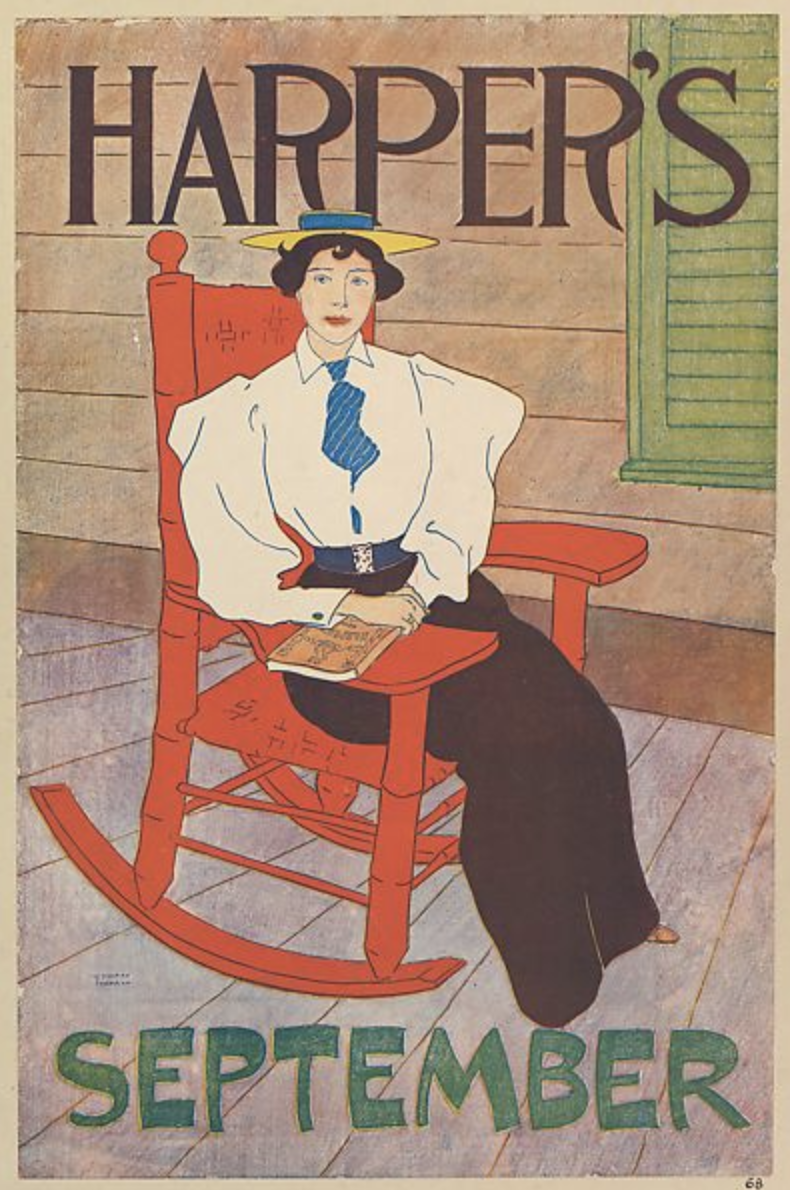 Edward Penfield, poster advertising Harpers Magazine, September 1894. Lithograph.