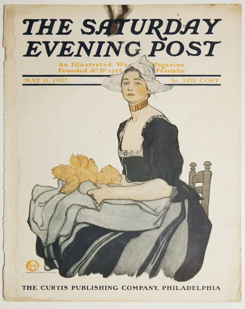 Edward Penfield,  Dutch Girl  cover illustration, Saturday Evening Post, May 11, 1907.