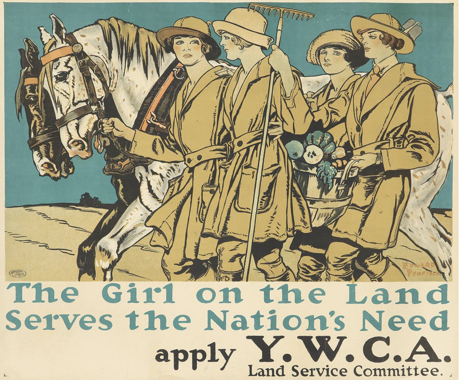 Edward Penfield, The Girl on the Land Serves the Nation's Need, poster design, YWCA Land Service Committee, 1918.