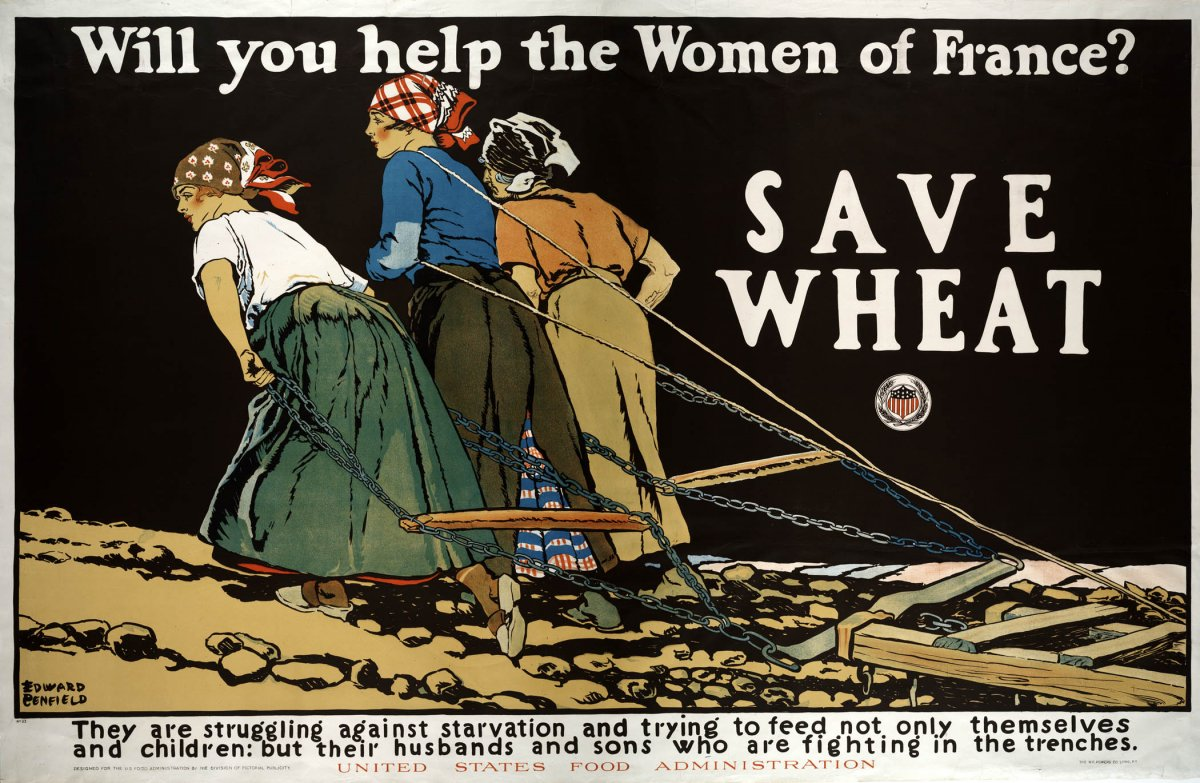 Edward Penfield,  Will You Help the Women of France? Save Wheat , poster design, U.S. Food Administration, 1918.