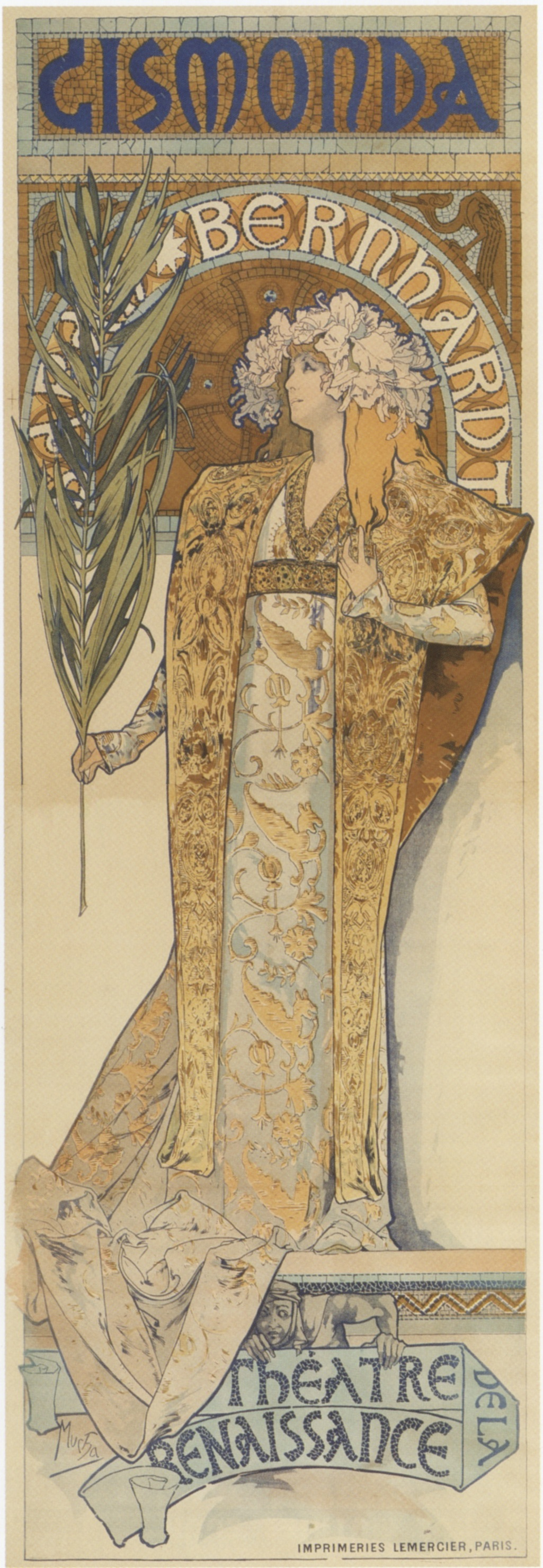Alphonse Mucha, poster design for  Gismonda , starring Sarah Bernhardt. Executed late 1894, posted January 1895. Theatre de la Renassiance, Paris. Lithograph.