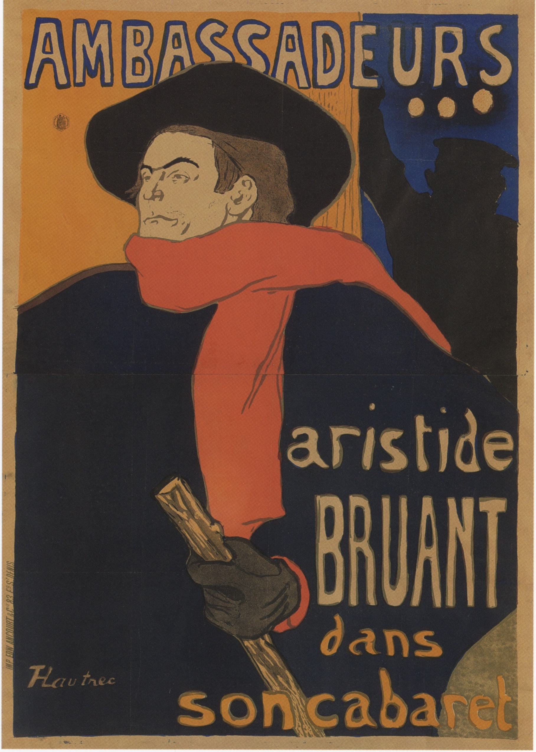 """Henri de Toulouse-Lautrec,  Ambassadeurs: Aristide Bruant dan son cabaret.  Poster advertisement. 1892. LIthograph.  The Victoria and Albert (London) entry for  Ambassadeurs  reads as following:  """"This poster advertises an event with the singer Aristide Bruant at the Ambassadeurs nightclub in Paris, 1892. Bruant, a satirical singer and a friend of the French artist Henri de Toulouse-Lautrec (1864-1901), insisted that Lautrec design this poster. The director of the Ambassadeurs disliked its dramatic and uncompromising style, but since Bruant said he would not perform unless the poster remained, it was used both outside the theatre and inside to decorate the proscenium arch.""""   Link here ."""