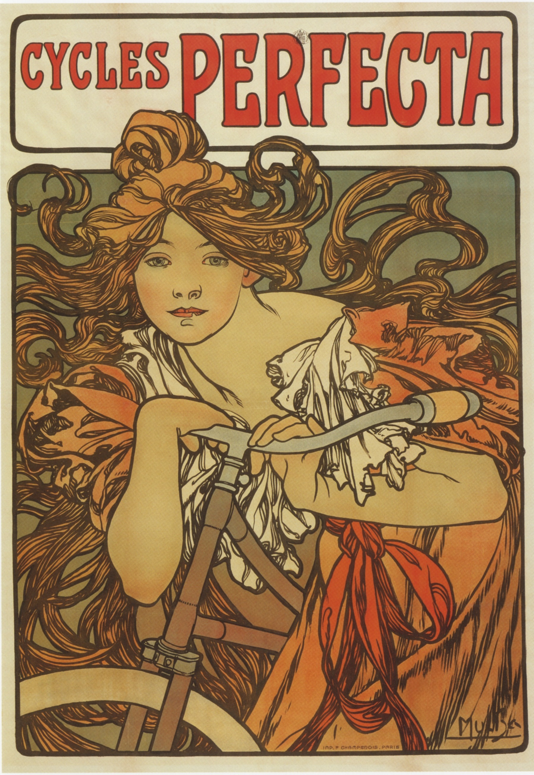 Alphonse Mucha, advertising poster for Cycles Perfecta, 1898.
