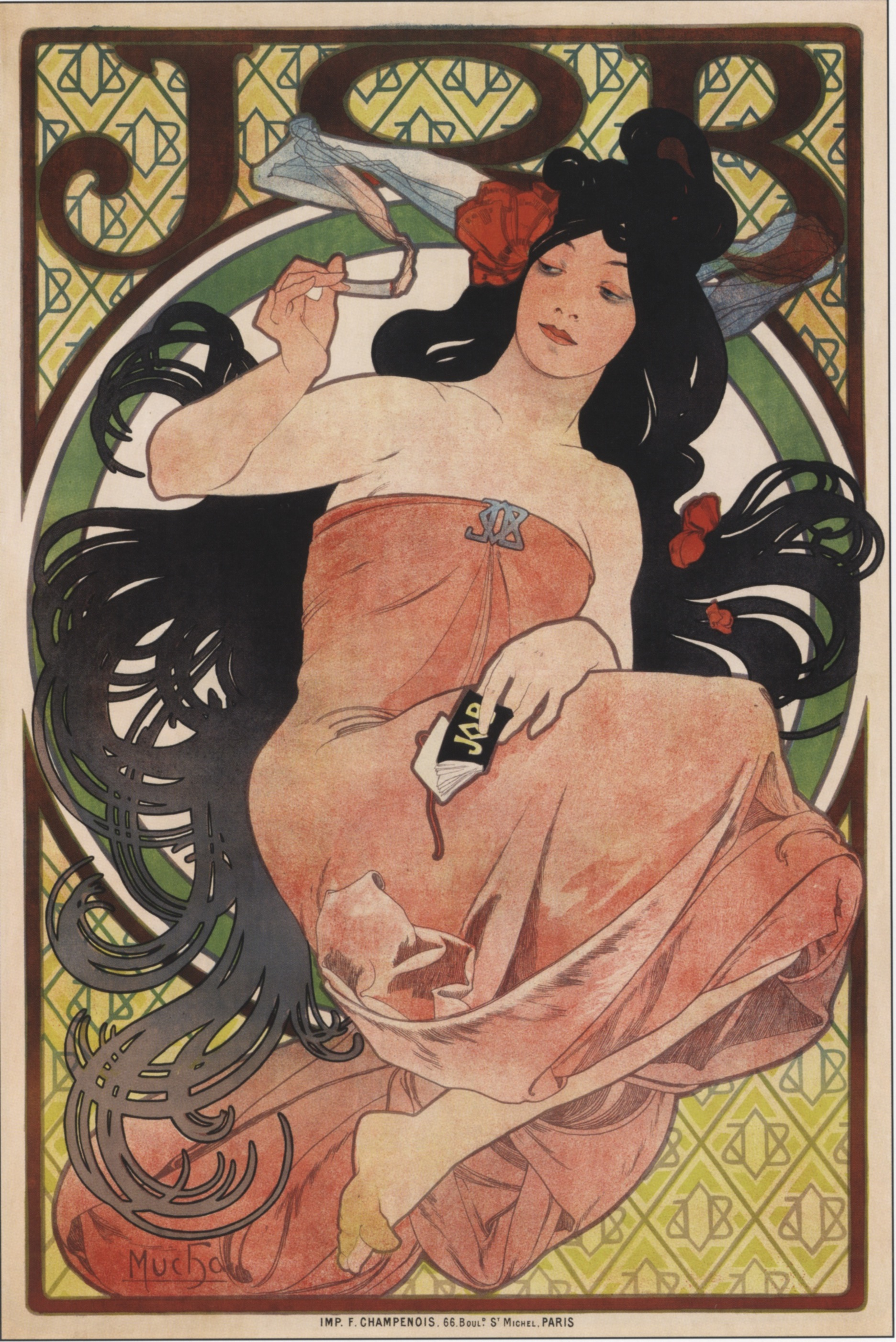 Alphonse Mucha, advertising poster for Job Cigarette Papers, 1898.