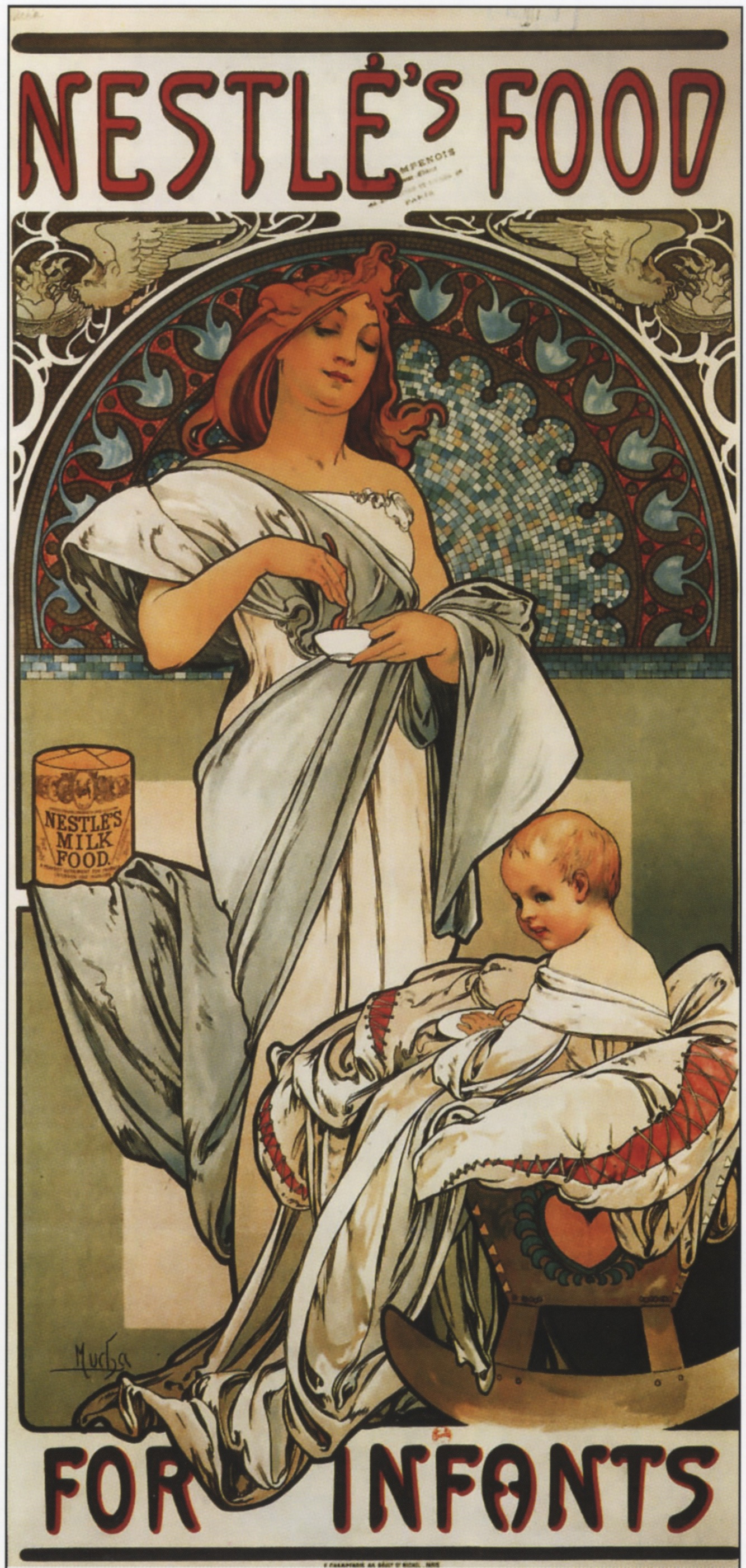 Alphonse Mucha, advertising poster for Nestlé's Food for Infants, 1897. A reminder that many large brands of today (Quaker Oats, Coca-Cola, Kellogg's, etc.) were already in business in the 19th century.