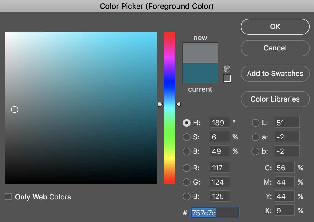 Screenshot, Color Picker in Photoshop, HSB Mode, isolating value and chroma—the digital equivalent of a chroma section in the Munsell system. Value is vertical, saturation is horizontal.