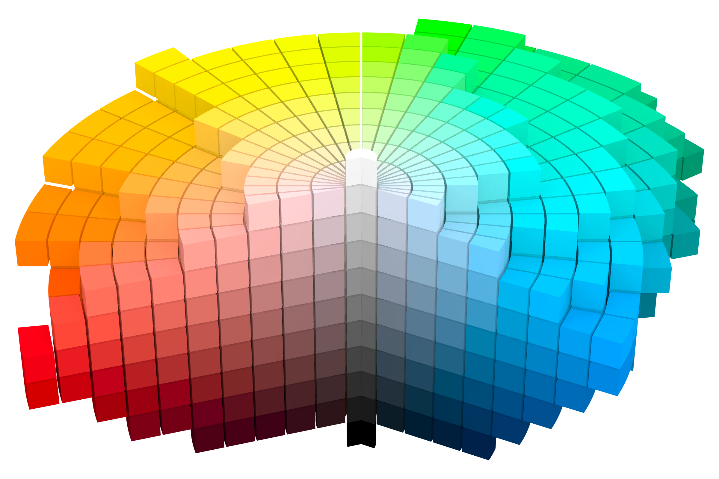 Representation of Munsell Color Solid, updated in 1943.