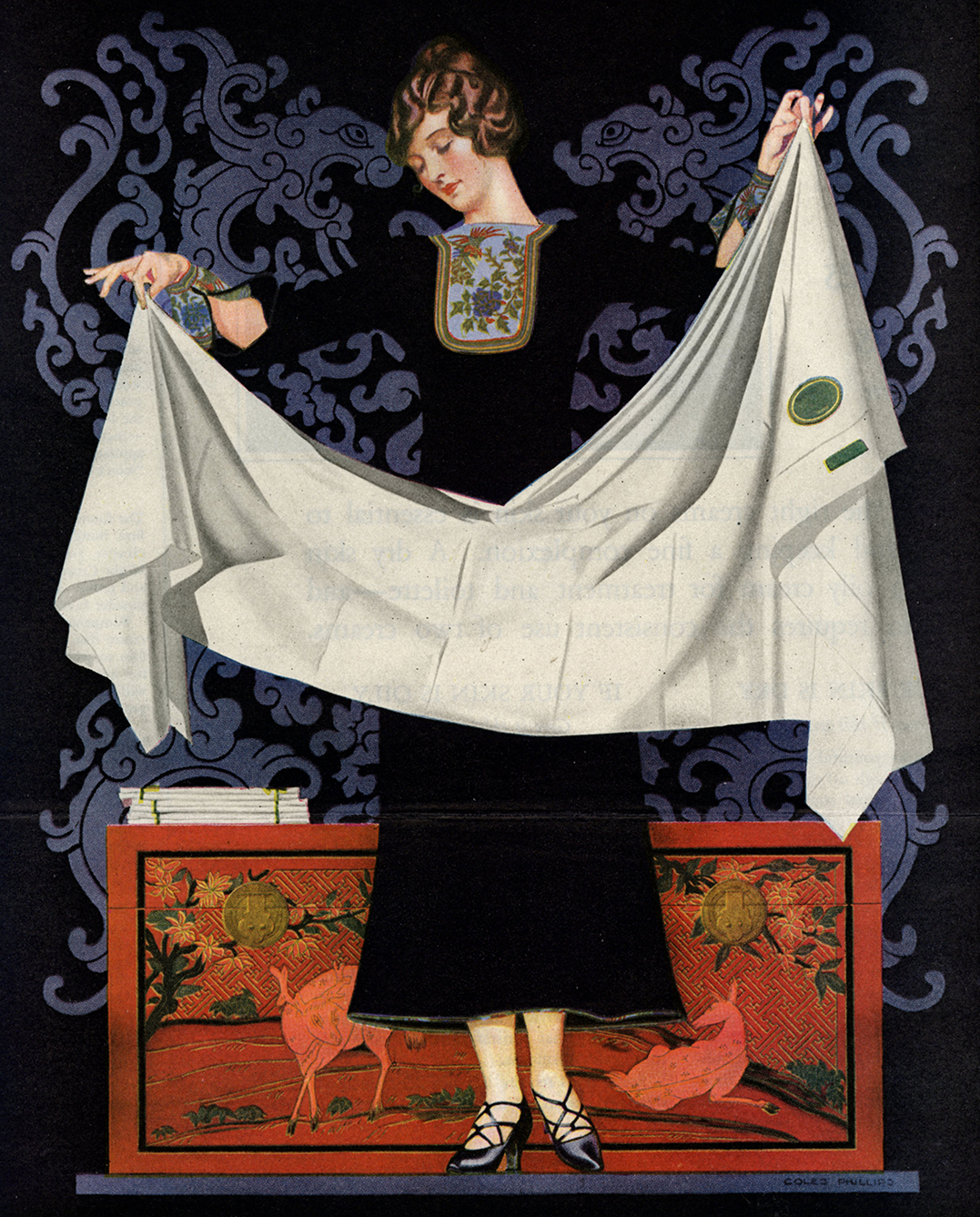 Coles Phillips, Advertisement for Wamsutta Percale, a purveyor of sheets and pillow cases. Ladies Home Journal, May 1924. Note how the figure is formed by edges of the lavender pattern on the dark blue field. The woman's dress has no line around it. Note also the striking shape of the drapery (also defined completely by edge, not line) which had to be observed. Mr. Phillips did not make that up.