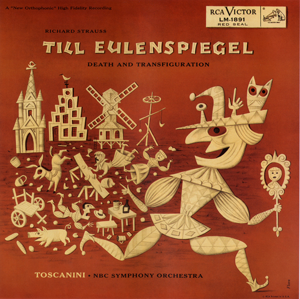 Jim Flora, album cover design for  Till Eulenspiegel by Richard Strauss,  The NBC Symphony Orchestra, RCA Victor, 1955.