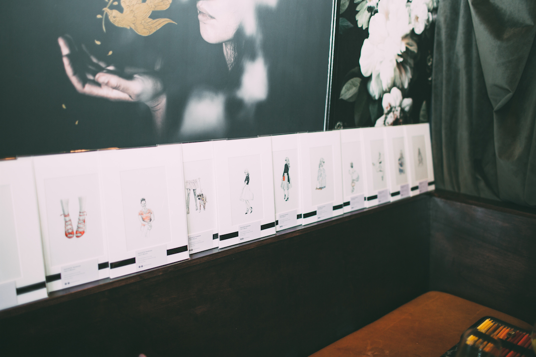 A few of my illustrations lining the wall and waiting to go home with each guest!