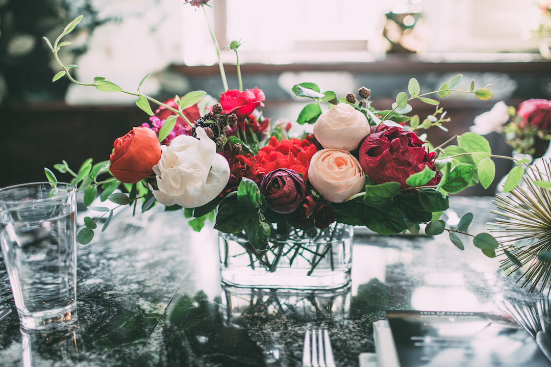 Gorgeous PAPER floral centerpieces by  The Lovely Ave.