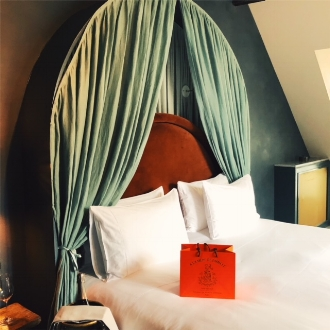 "Our ""Parisian Eaves"" room on Hotel des Grands Boulevards's top floor."