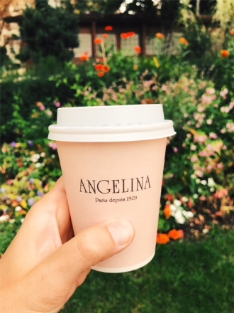 The shade of pink on the to-go cups at Angelina made the hot chocolate that much more delicious.
