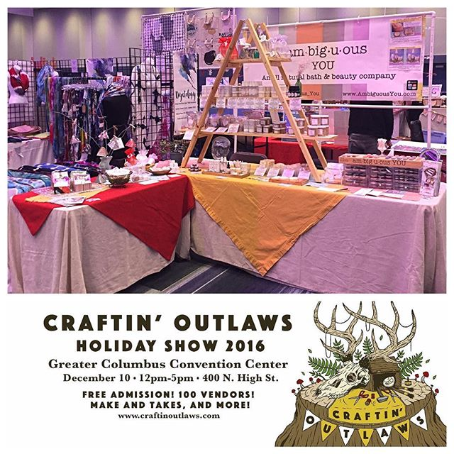 We are all set up and ready @craftinoutlaws Holiday Shop! Stop by from 12-5pm and snag some awesome holiday gifts! #craftinoutlaws2016 #craftinoutlaws #ambiguousyou #allnatural #vegan #glutenfree #bathandbeauty #cosmetics #mineralmakeup #columbushandmade