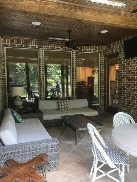 Screened porch interior.