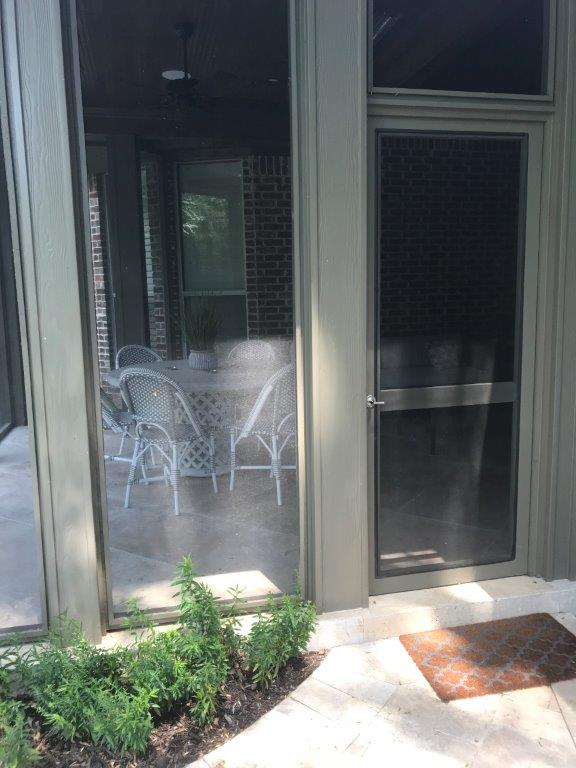 Outside door to screened porch.
