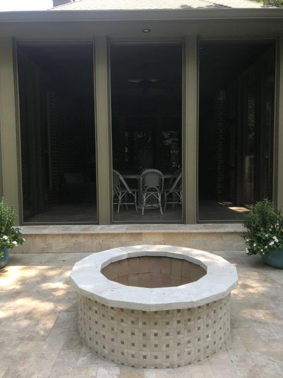 Front view of fire pit and porch.