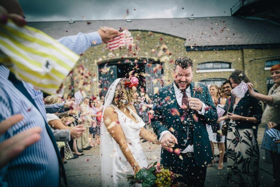 Quirky Venue, Non-traditional wedding planner, London Wedding coordination, Bespoke weddings, Warehouse wedding, Trinity Buoy Wharf Wedding, informal, confetti moment, www.eclection-photography.com