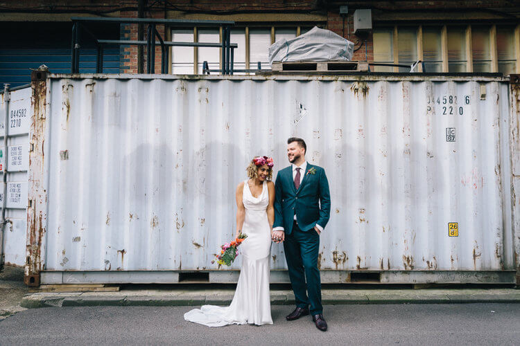 Trinity Buoy Wharf, London Wedding, Rock My Wedding Feature, Rox & Greg, Dita Rosted Events, Container Backdrop, Urban wedding