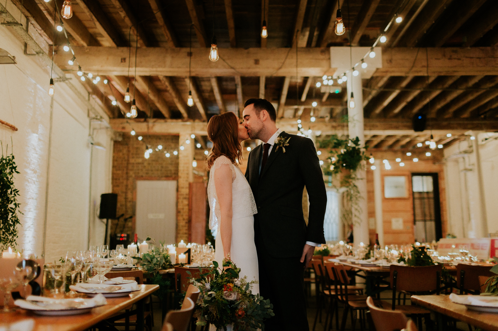 Unusual venue, Brixton East 1871 wedding, Just married, Bride & Groom, Filament bulbs, Warehouse Wedding, London wedding, Luis Calow Photography