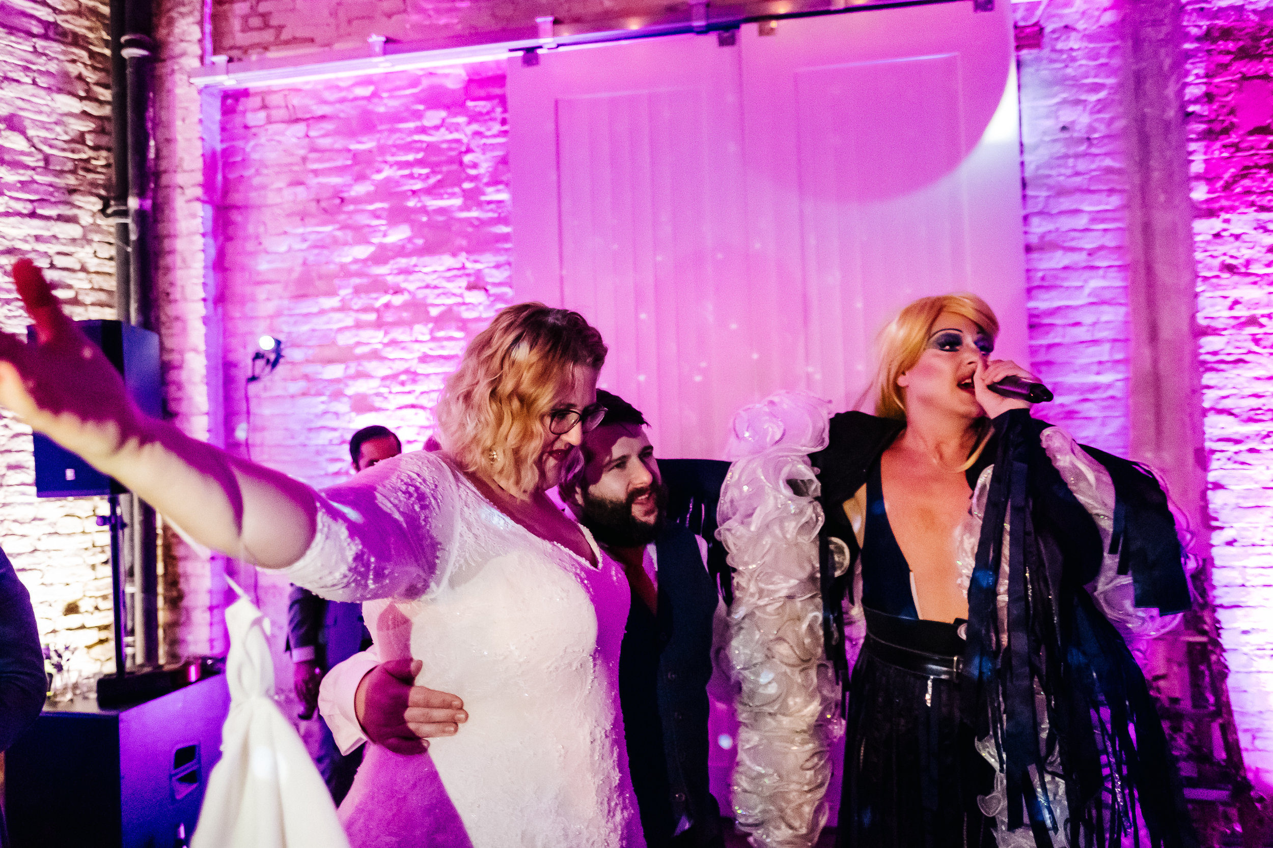 Quirky Venue, Non-traditional wedding planner, London Wedding coordination, Event Bar, Bespoke weddings, Brixton East 1871 Wedding, Airstream, informal, Stylish, Drag Queen