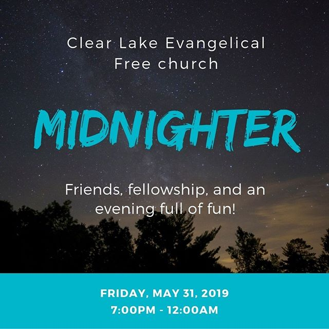 Middle & High School students - Come to the church this Friday night for our midnighter! There'll be plenty of games for an evening of hanging out and having fun together. Bring a friend too!