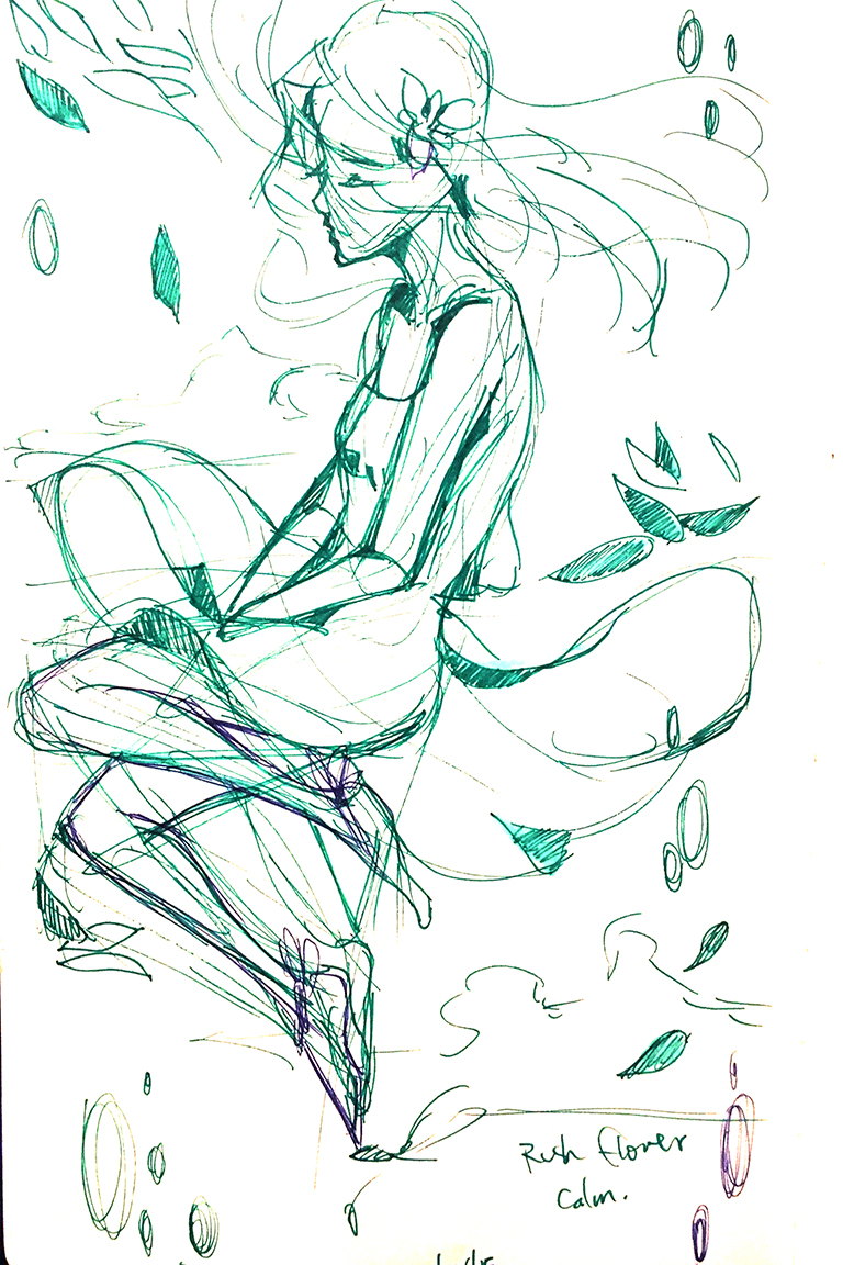 """The sketch. I originally wanted to name this art """"Calm"""" to portray the emotion I felt when I sketched it. I focused on mainly the emotions and anatomy here."""