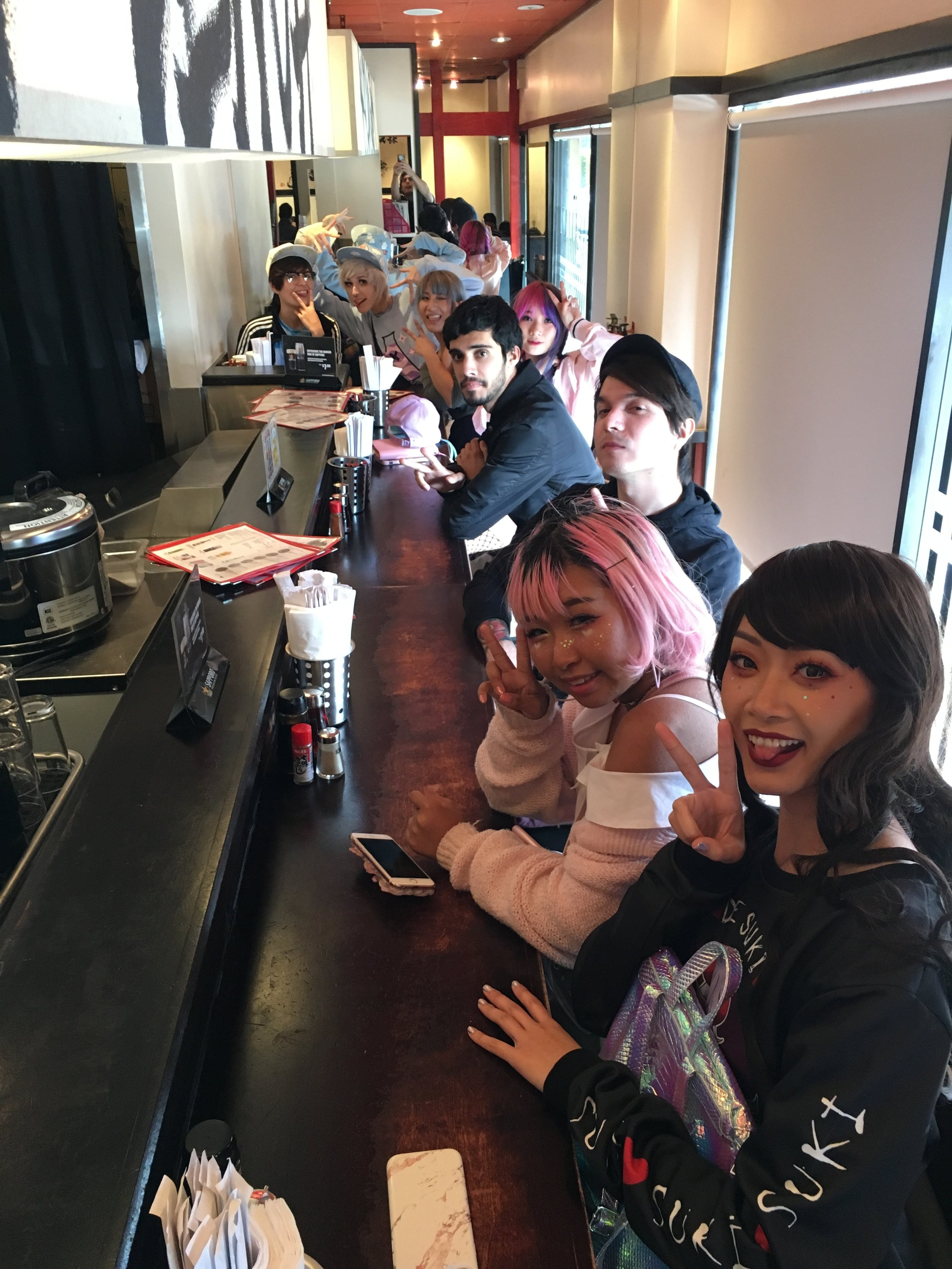 The whole Crew eating at Menho having some hot ramen after the pouring rain. In LA.