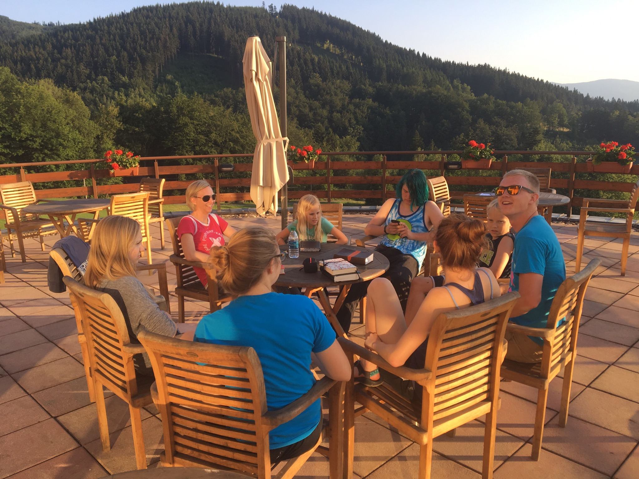 Team meeting after arriving in Malenovice