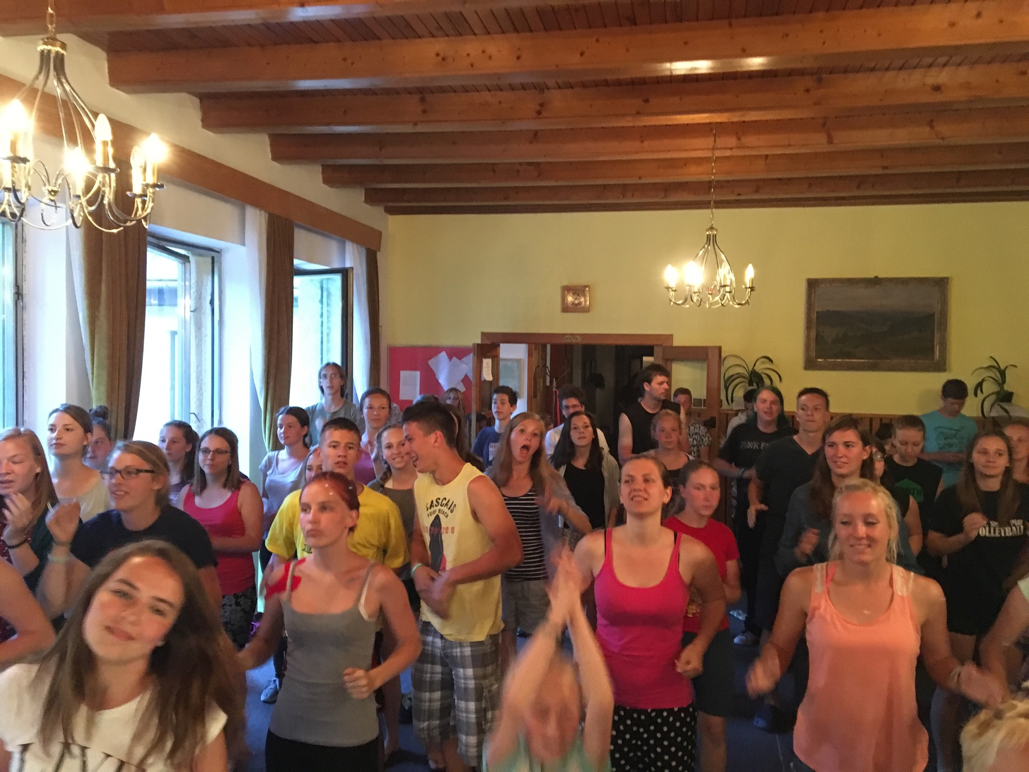 Everyone doing the camp dance at our evening gathering.